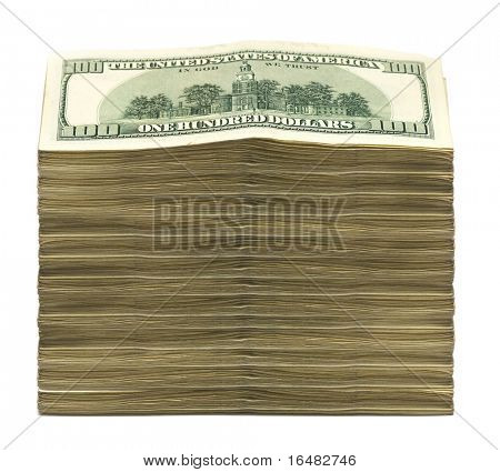 stack of dollars on white background poster
