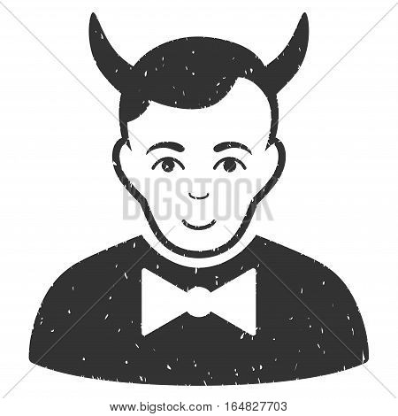 Devil grainy textured icon for overlay watermark stamps. Flat symbol with dust texture. Dotted vector gray ink rubber seal stamp with grunge design on a white background.