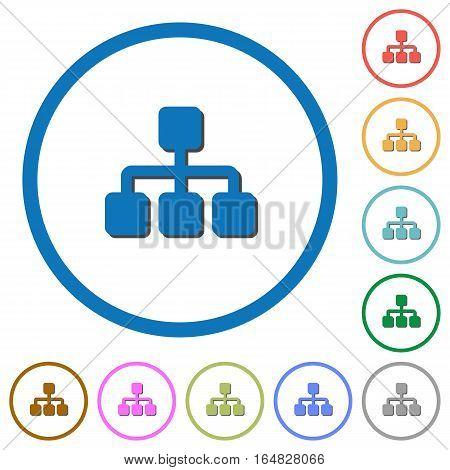 Network flat color vector icons with shadows in round outlines on white background