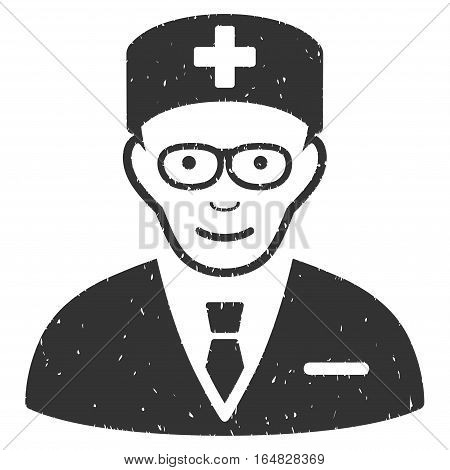 Head Physician grainy textured icon for overlay watermark stamps. Flat symbol with dust texture. Dotted vector gray ink rubber seal stamp with grunge design on a white background.