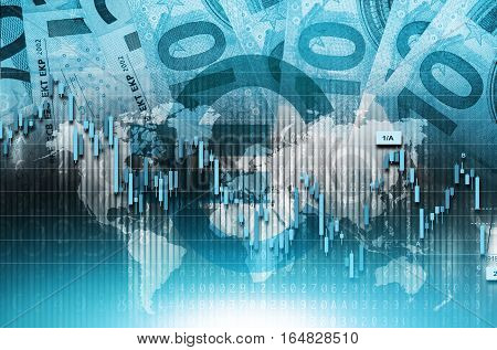 Blue Euro Global Trading Conceptual Illustration. Global Euro Money Traders.