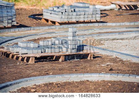 Paving Brick Paths. Pile of Bricks Ready For Paving.