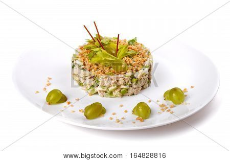Sweet salad of chicken grapes and apple isolated over white background
