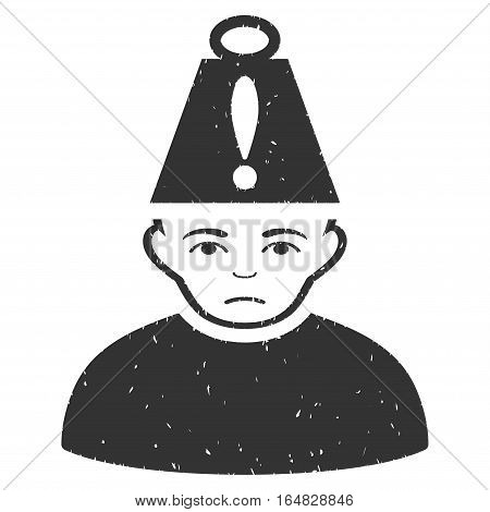 Head Stress grainy textured icon for overlay watermark stamps. Flat symbol with scratched texture. Dotted vector gray ink rubber seal stamp with grunge design on a white background.