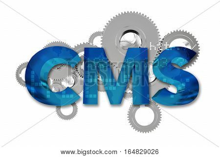 CMS Content Management System Abstract Concept 3D Render Illustration Isolated on White Background. Website Content Management Systems.