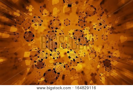 Casino Poker Chips Blow Background 3D Rendered Illustration. Dark Golden Poker Chips Backdrop.