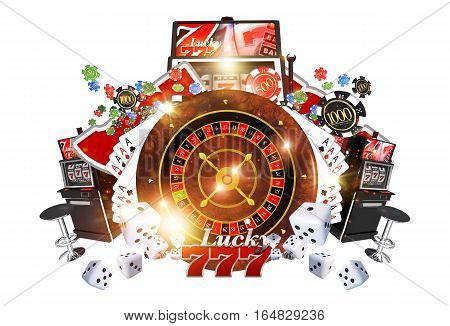 Famous Casino Games Concept 3D Render Illustration. Casino Roulette Poker Slot Machines and Other Money Games Isolated on White Background.