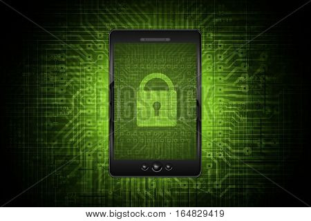 Mobile Network Safety. Mobile Internet and Devices Data Safety Conceptual Background Illustration. Secured Mobile Applications