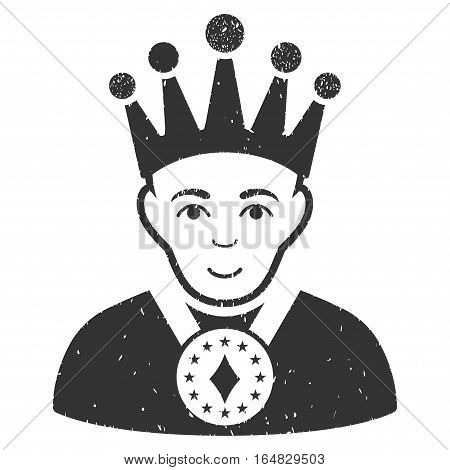 King grainy textured icon for overlay watermark stamps. Flat symbol with dust texture. Dotted vector gray ink rubber seal stamp with grunge design on a white background.