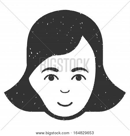 Lady Face grainy textured icon for overlay watermark stamps. Flat symbol with dust texture. Dotted vector gray ink rubber seal stamp with grunge design on a white background.