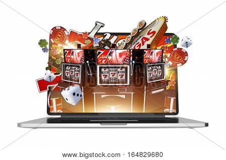 Online Gambling on Laptop Computer Abstract 3D Rendered Illustration. Isolated Illustration. Vegas Gambling.