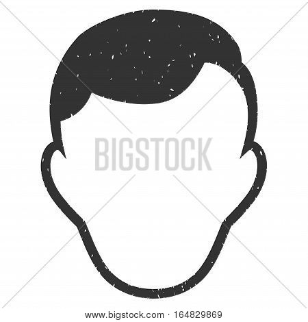 Man Face Template grainy textured icon for overlay watermark stamps. Flat symbol with unclean texture. Dotted vector gray ink rubber seal stamp with grunge design on a white background.