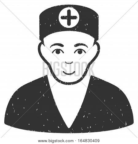 Medic grainy textured icon for overlay watermark stamps. Flat symbol with dust texture. Dotted vector gray ink rubber seal stamp with grunge design on a white background.