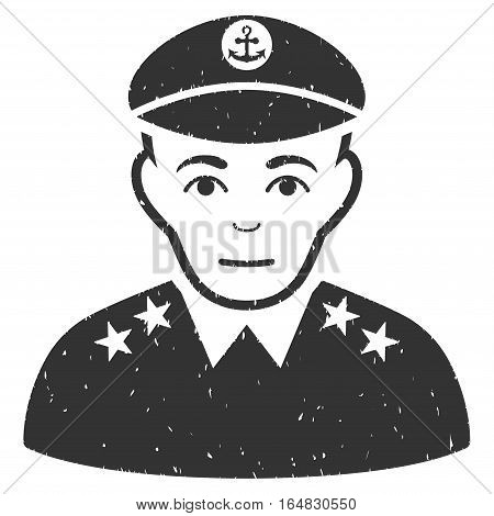 Military Captain grainy textured icon for overlay watermark stamps. Flat symbol with unclean texture. Dotted vector gray ink rubber seal stamp with grunge design on a white background.
