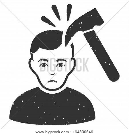 Murder With Hammer grainy textured icon for overlay watermark stamps. Flat symbol with dirty texture. Dotted vector gray ink rubber seal stamp with grunge design on a white background.