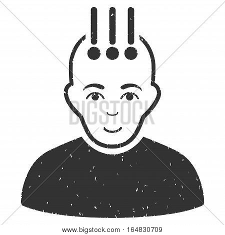 Neural Interface grainy textured icon for overlay watermark stamps. Flat symbol with scratched texture. Dotted vector gray ink rubber seal stamp with grunge design on a white background.