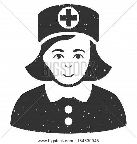 Nurse grainy textured icon for overlay watermark stamps. Flat symbol with scratched texture. Dotted vector gray ink rubber seal stamp with grunge design on a white background.