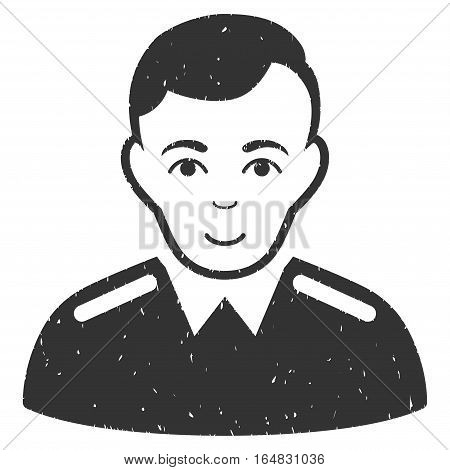 Officer grainy textured icon for overlay watermark stamps. Flat symbol with dust texture. Dotted vector gray ink rubber seal stamp with grunge design on a white background.