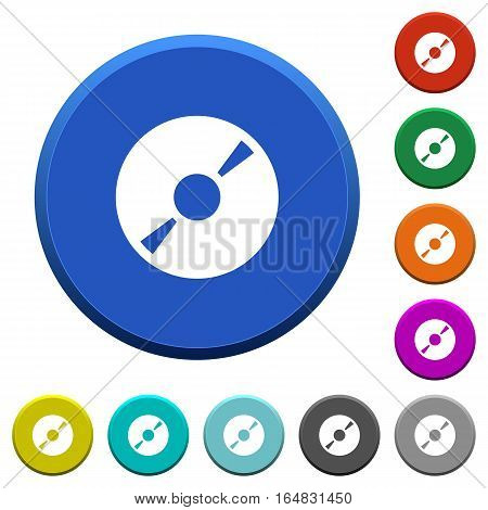 DVD disk round color beveled buttons with smooth surfaces and flat white icons