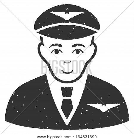 Pilot grainy textured icon for overlay watermark stamps. Flat symbol with dirty texture. Dotted vector gray ink rubber seal stamp with grunge design on a white background.