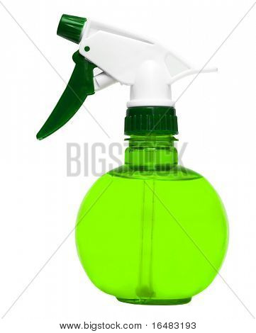 green plastic water spray bottle isolated on white