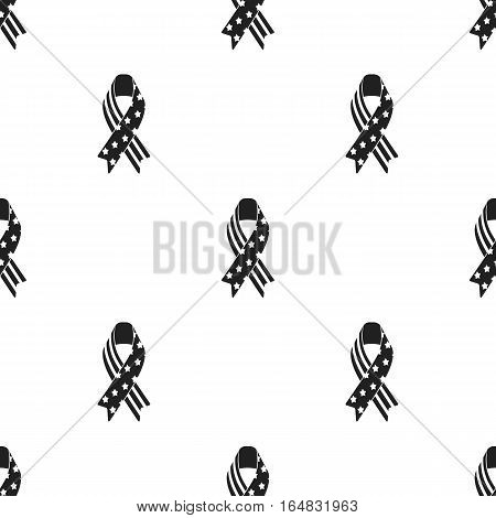 Patriotic ribbon icon in black style isolated on white background. Patriot day pattern vector illustration.