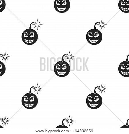 Bomb virus icon in black style isolated on white background. Personal computer pattern vector illustration.