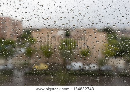 Raindrops On A Window Glass