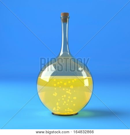 Chemical laboratory flask with green liquid isolated on blue