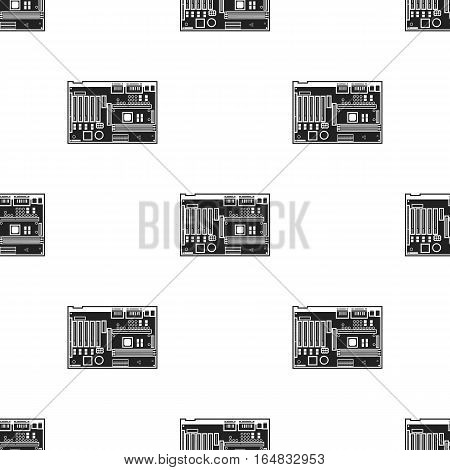 Motherboard icon in black style isolated on white background. Personal computer pattern vector illustration.