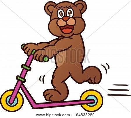Bear Riding Freestyle Scooter Cartoon Animal Character. Vector Illustration.