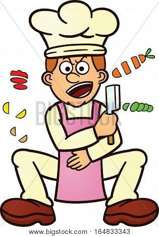 Chef Chopping Food Ingredients Cartoon Character. Vector Illustration.