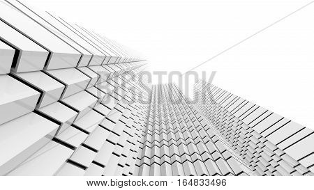 Black and white futuristic architecture background. Abstract architectural building of the future. 3D rendering.