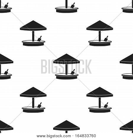 Sandbox icon in black style isolated on white background. Play garden pattern vector illustration.