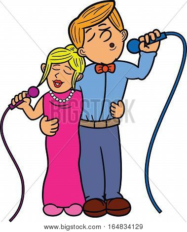 Couple Duet Singer Cartoon Characters. Vector Illustration.