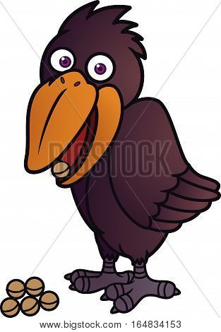 Crow Eating Seeds Cartoon Animal Character. Vector Illustration.