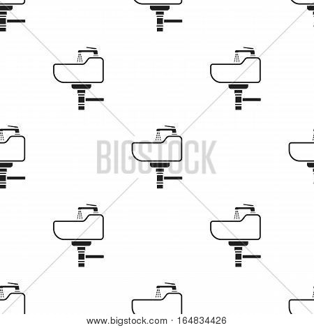 Sink icon in black style isolated on white background. Plumbing pattern vector illustration.