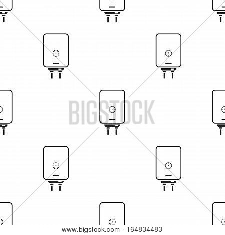 Boiler icon in black style isolated on white background. Plumbing pattern vector illustration.