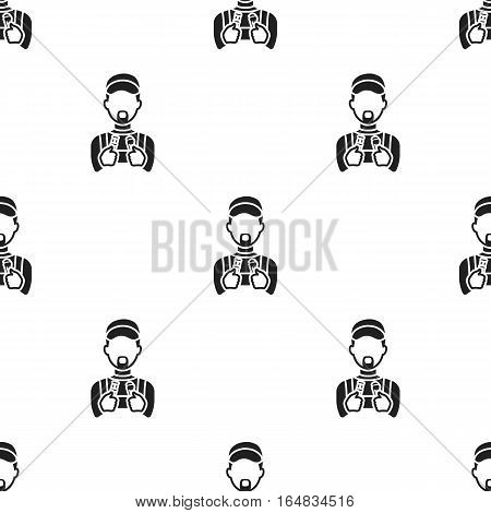 Plumber icon in black style isolated on white background. Plumbing pattern vector illustration.