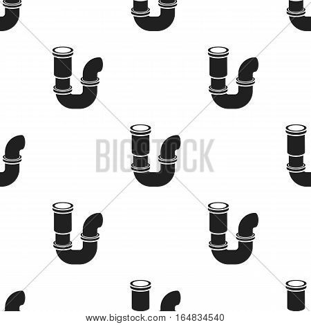Plumbing trap icon in black style isolated on white background. Plumbing pattern vector illustration.