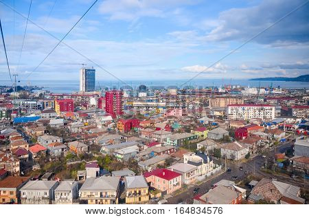 Flew on a scenic cable car seen Batumi aerial view.