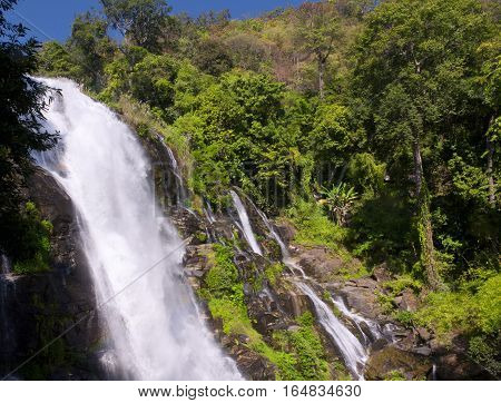 The Wachirathan waterfall in Doi Inthanon National Park in Chiang Mai northern thailand.