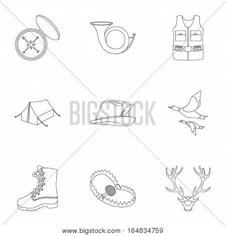 Hunting set icons in outline style. Big collection of hunting vector symbol stock