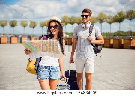 Happy Couple In Love On Vacation Finding Way To Hotel