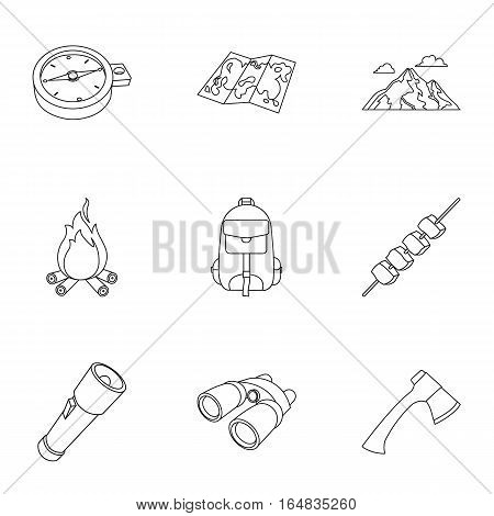 Camping set icons in outline design. Big collection of camping vector symbol stock illustration
