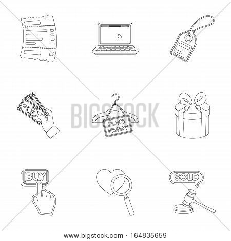 E-commerce set icons in outline style. Big collection of e-commerce vector symbol stock
