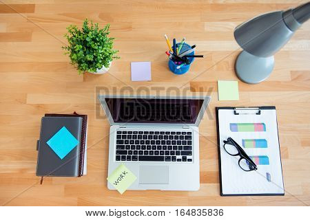 Business concept of office working. Top view of workplace