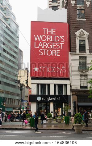 NEW YORK - MAY 3 2016: Macy's at Herald square in Manhattan. It is the flagship of Macy's department stores with 2.2 million square feet retail space