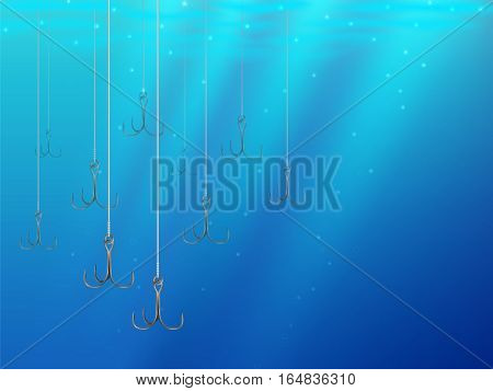 Fishing Lures Background Underwater Hooks Texture 1