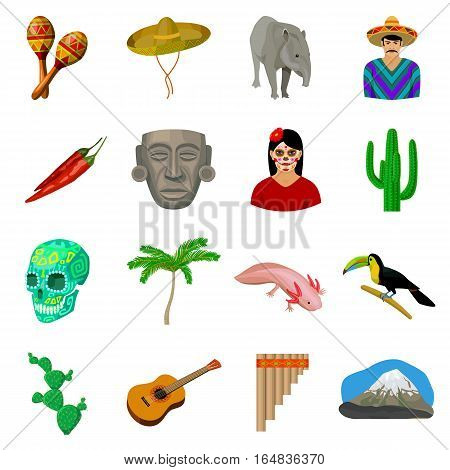 Mexico country set icons in cartoon style. Big collection of mexico country vector symbol stock